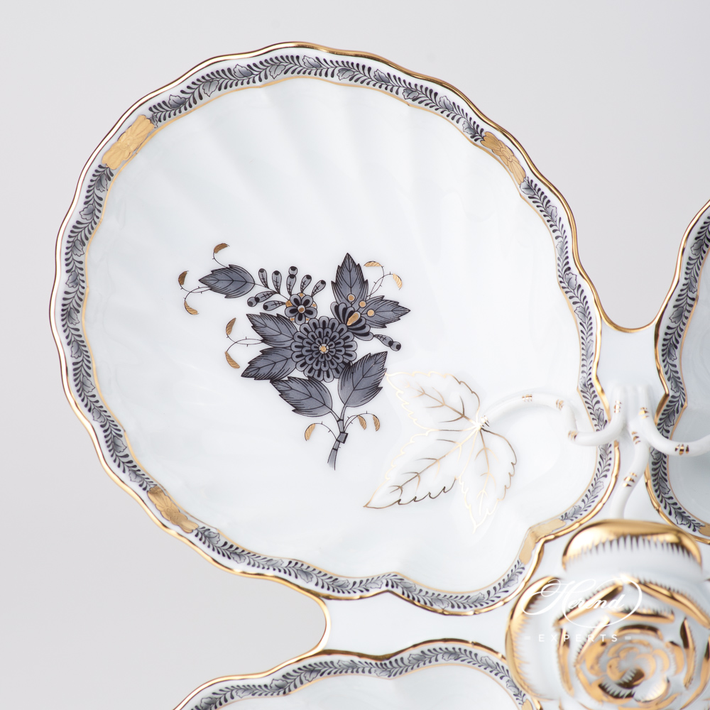Fancy Dish w. Rose Handle 7532-0-09 ANG Chinese Bouquet Grey / Apponyi Grey design. Herend fine china tableware. Hand painted