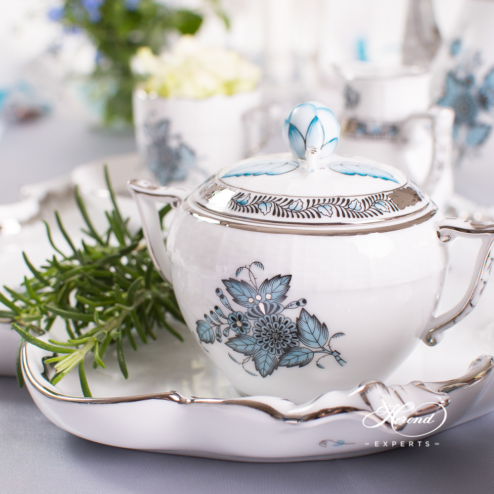 Coffee / Espresso Set for 4 Person w. Rococo Tray - Herend Chinese Bouquet Turquoise / Apponyi Turquoise w. Platinum - ATQ3-PT design. Herend fine china