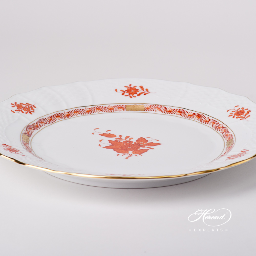 Serving / Service Plate1527-0-00 AOG Chinese BouquetRust / Apponyi Orange design. Herend fine china