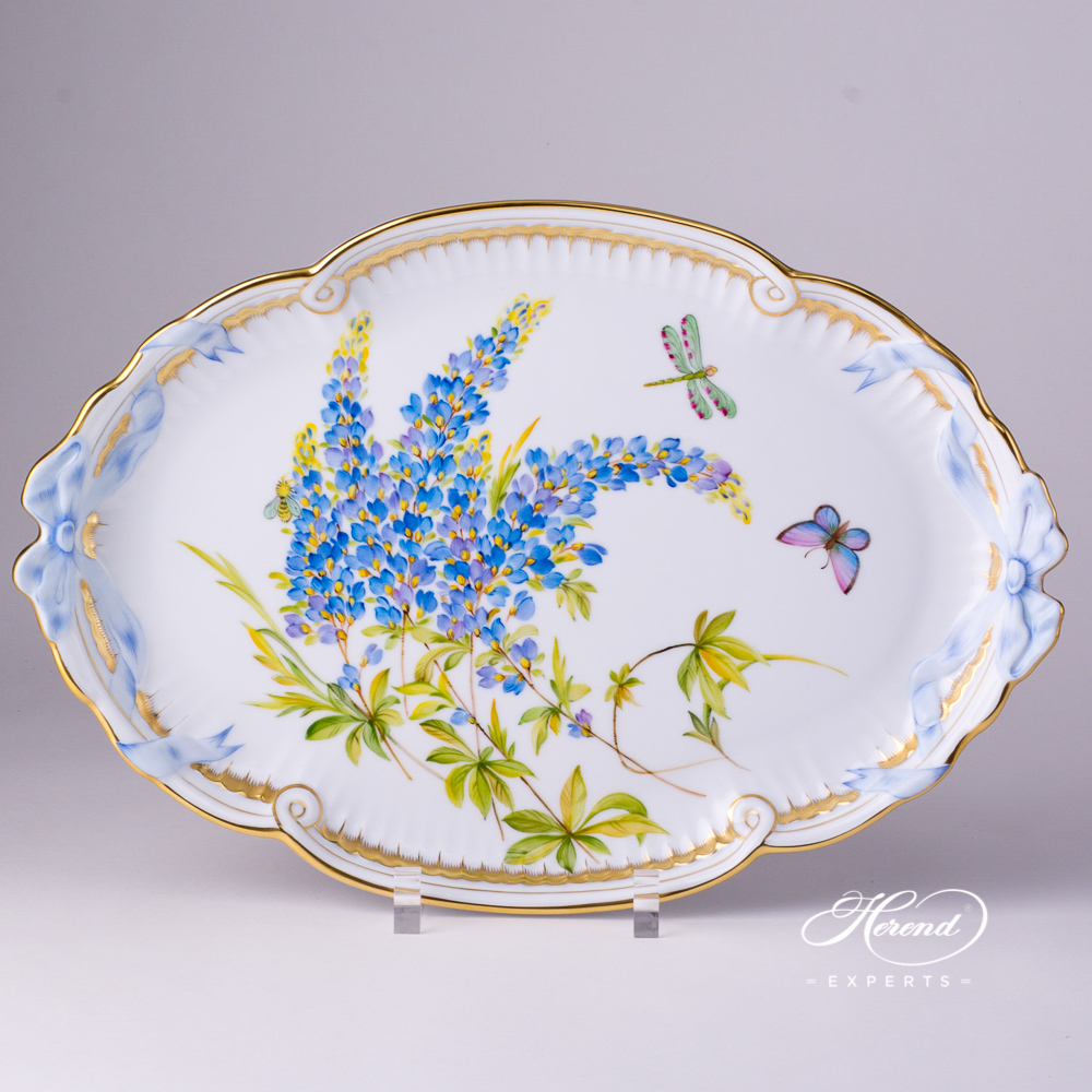 Tray w. Ribbon 2400-0-00 FLA-BB Texas Bluebonnet Flower pattern. Large size. Herend fine china hand painted