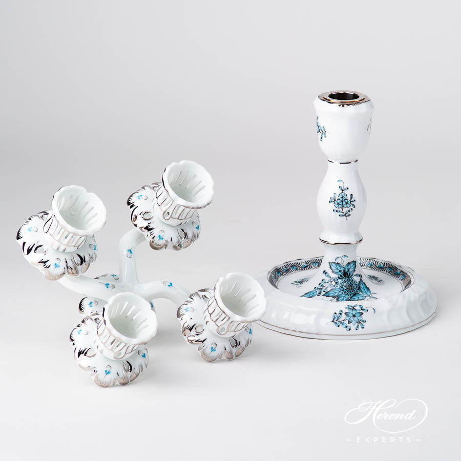 Candlestick 4 Branched 7915-0-00 and 7927-0-00 ATQ3-PT Chinese Bouquet / Apponyi Turquoise pattern. Herend fine china