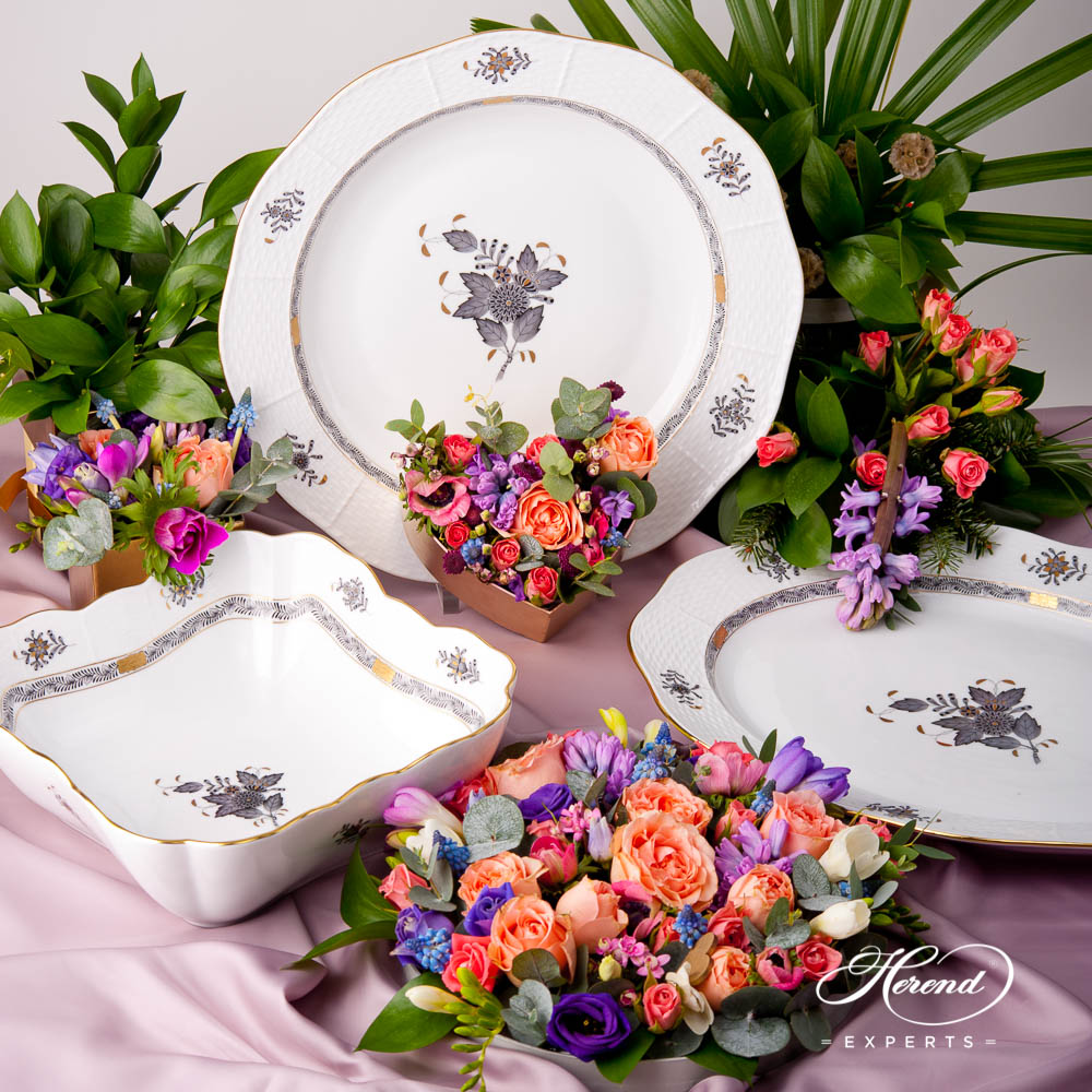 Dinner Set - Herend Chinese Bouquet / Apponyi Black - ANG pattern. Herend fine china