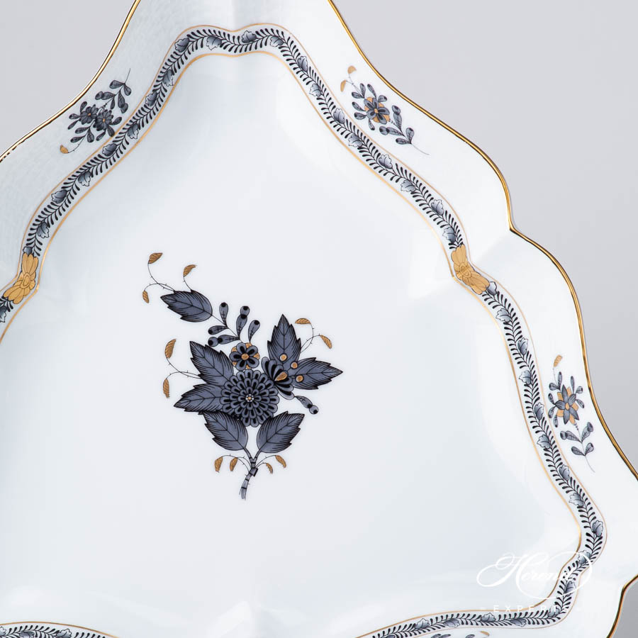 Salad Bowl 191-0-00 ANG Chinese Bouquet / Apponyi Black design. Triangle Shaped. Herend fine china