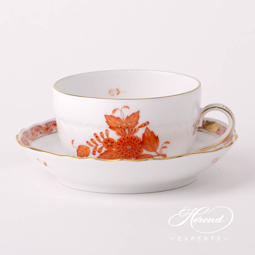 Tea Cup w. Saucer 1726-0-00 AOG Chinese Bouquet Rust / Apponyi Orange design. Herend fine china