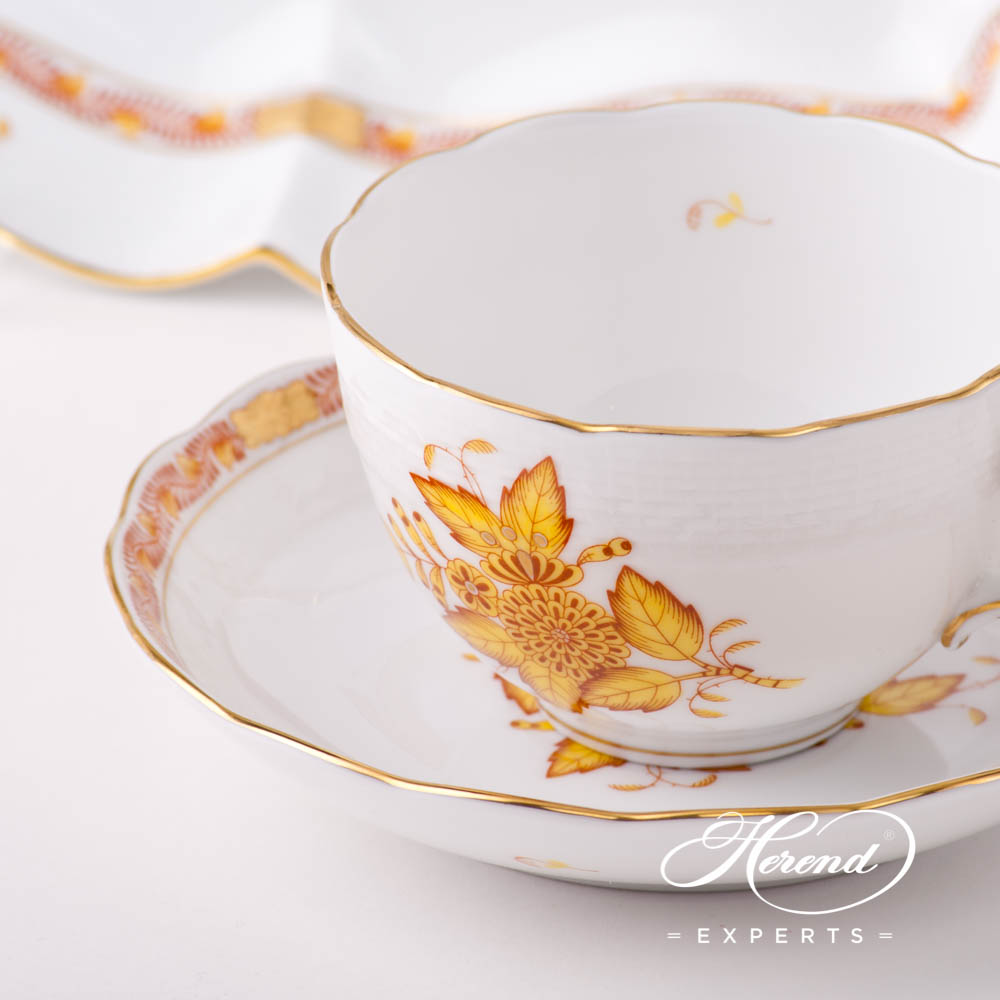 Basic Tea Set for 2 Persons - Herend Chinese Bouquet / Apponyi Yellow AJ pattern. Herend fine china hand painted. Classic style tableware