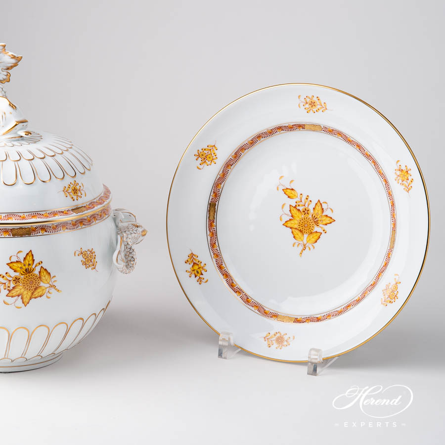 Soup Tureen / Fancy Dish w. Dolphin Knob 6541-0-18 AJ Chinese Bouquet / Apponyi Yellow design. Herend fine china hand painted. Classical style tableware