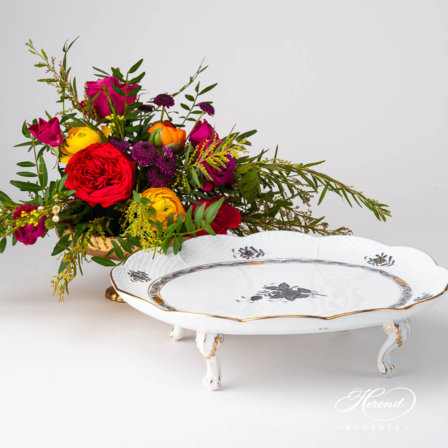 Cake Plate on Feet 414-0-00 ANG Chinese Bouquet / Apponyi Black design. Herend fine china