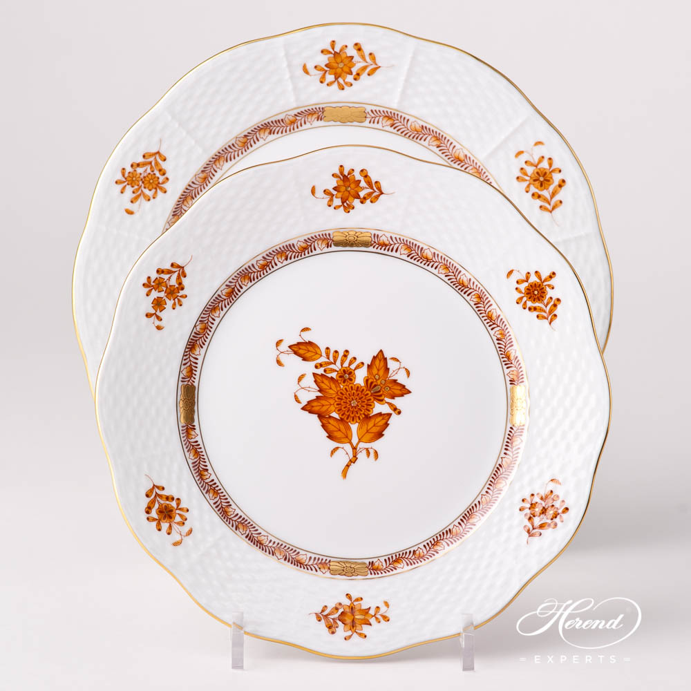 Dessert Plate 519-0-00 AM Chinese Bouquet / Apponyi Brown design. Herend fine china