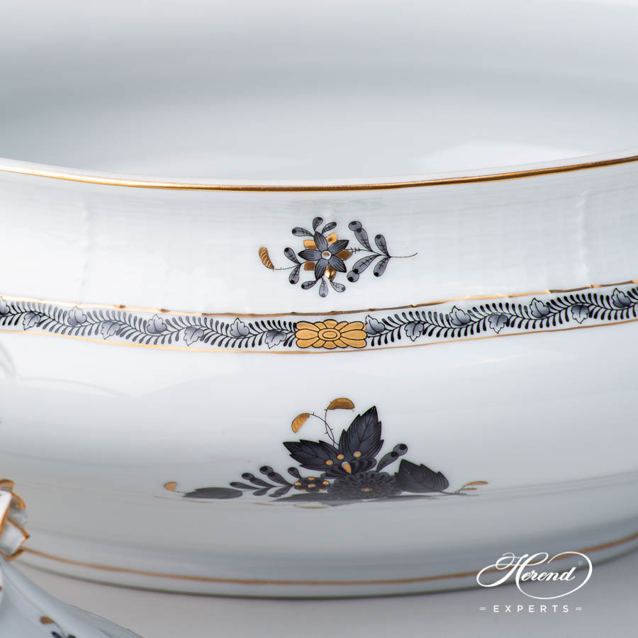 Soup Tureenw. Branch Knob 2-0-02 ANG Chinese Bouquet / Apponyi Blackdesign. Herend fine china
