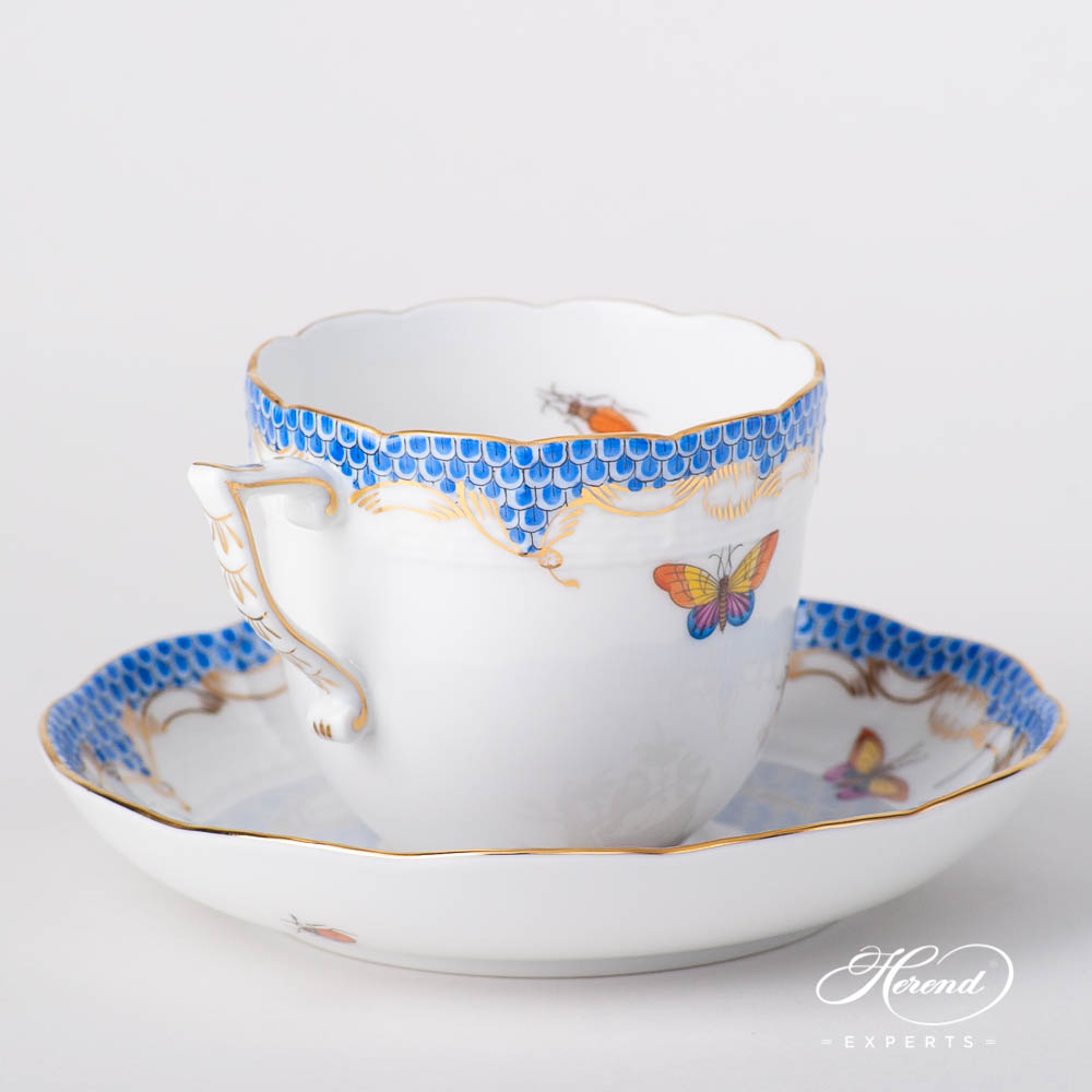 Coffee Cup w. Saucer 706-0-00 RO-ETB Rothschild Bird Blue Fish Scale pattern. Herend fine china tableware. Hand painted