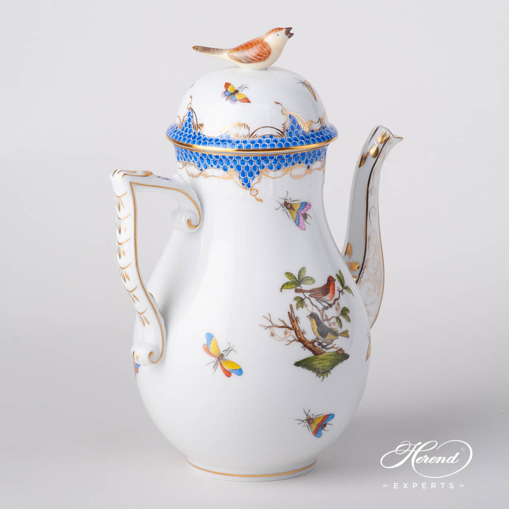 Coffee Pot w. Bird Knob 613-0-05 RO-ETB Rothschild Bird Blue Fish Scale pattern. Herend fine china tableware. Hand painted