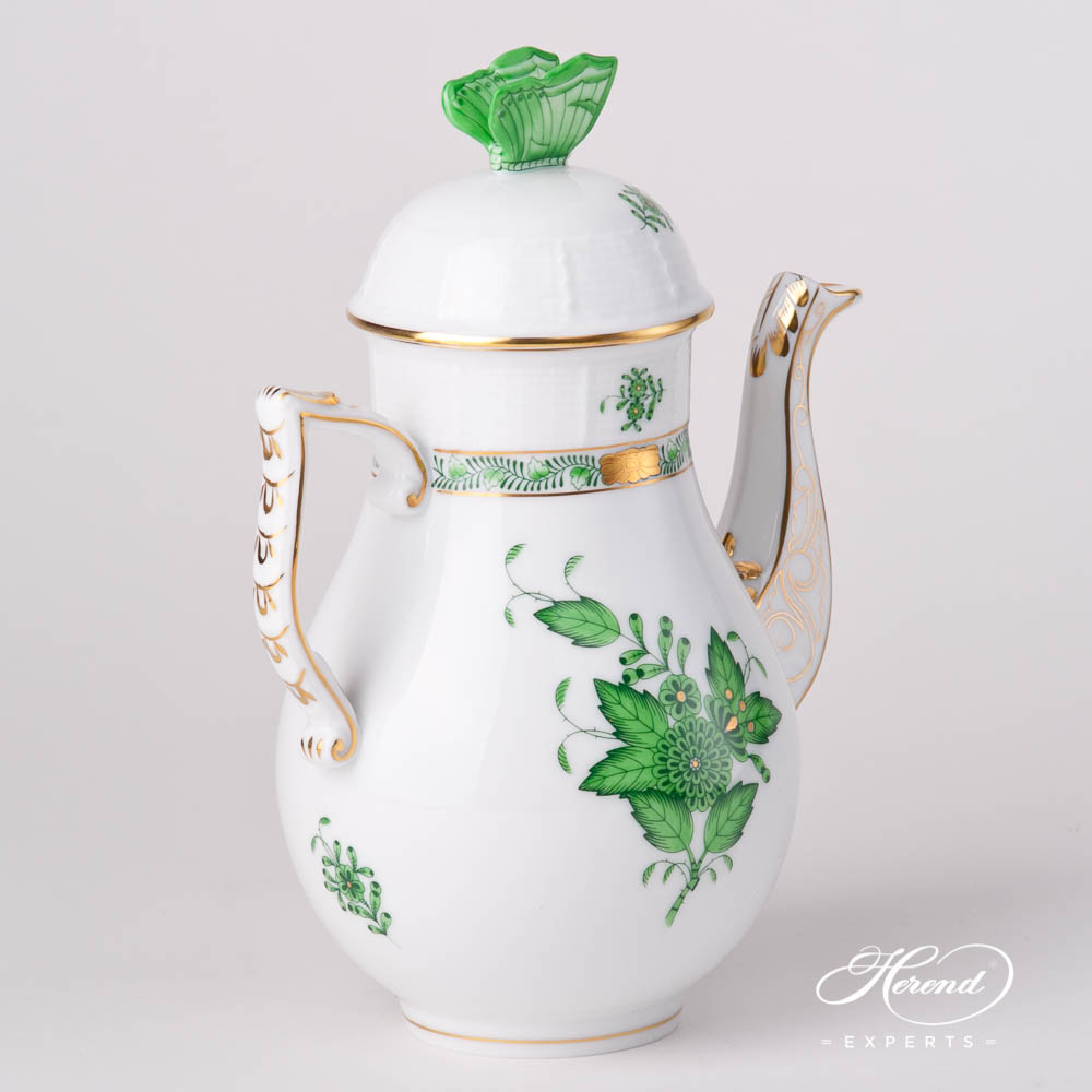 Coffee Pot w. Butterfly Knob 614-0-17 AV Chinese Bouquet / Apponyi Green design. Herend fine china