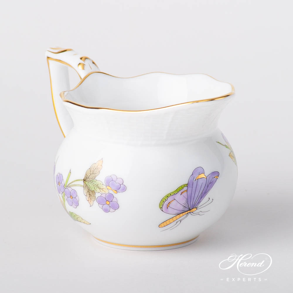 Creamer / Milk Jug 644-0-00 EVICT1 Royal Garden Green Butterfly w. Flower design. Herend fine china hand painted. Modern style