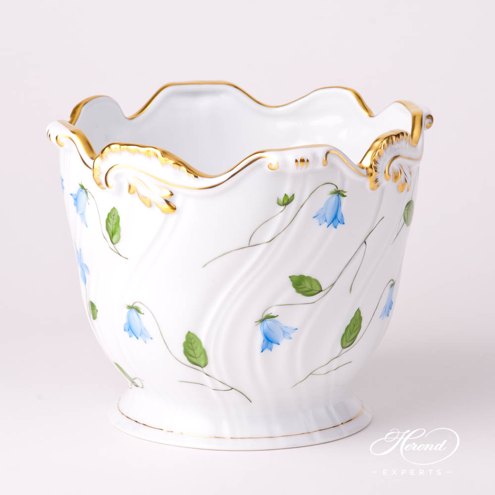 Flower Pot / Vase 7227-0-00 CMU Bluebell / Campanula Blue pattern. Herend fine china hand painted. Modern style tableware