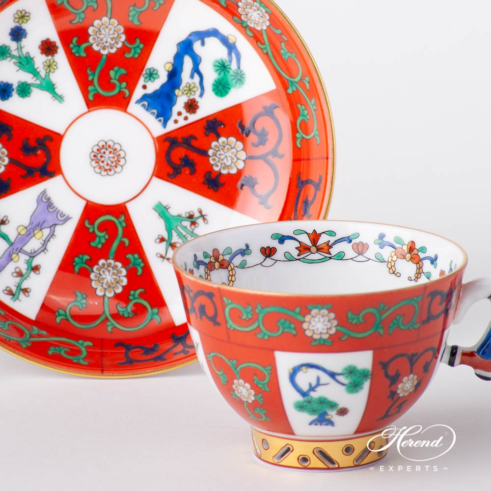 Tea / Coffee / Espresso Cup with Saucer 3371-0-21 G Godollo design. Herend fine china tableware. Hand painted.