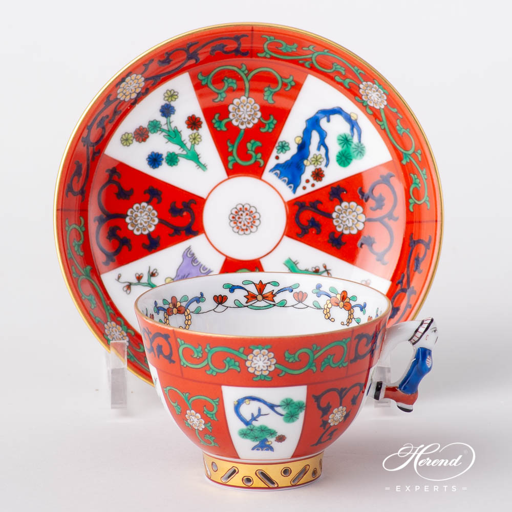 Tea /Coffee / Espresso Cup with Saucer 3371-0-21 G Godollo design. Herend fine china tableware. Hand painted.