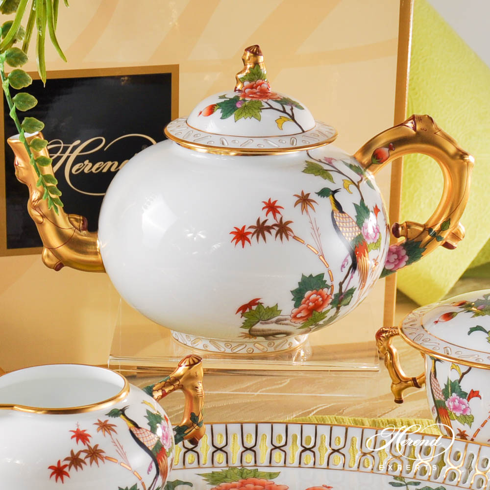 Tea Set for 2 Persons - GRUE design. Herend fine china hand painted. Oriental Herend pattern. Limited edition