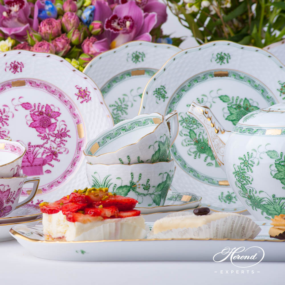 Tea Set for 6 Persons - Herend Indian Basket pattern. Mix colored Tea Set. Herend fine china hand painted. Classic Herend pattern