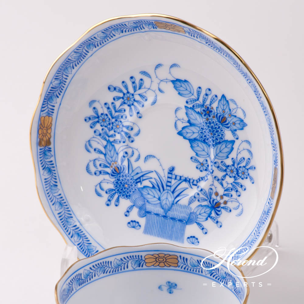 Tea Cup w. Saucer 724-0-00 FB Indian Basket Blue pattern. Herend fine china hand painted. Classical style tableware