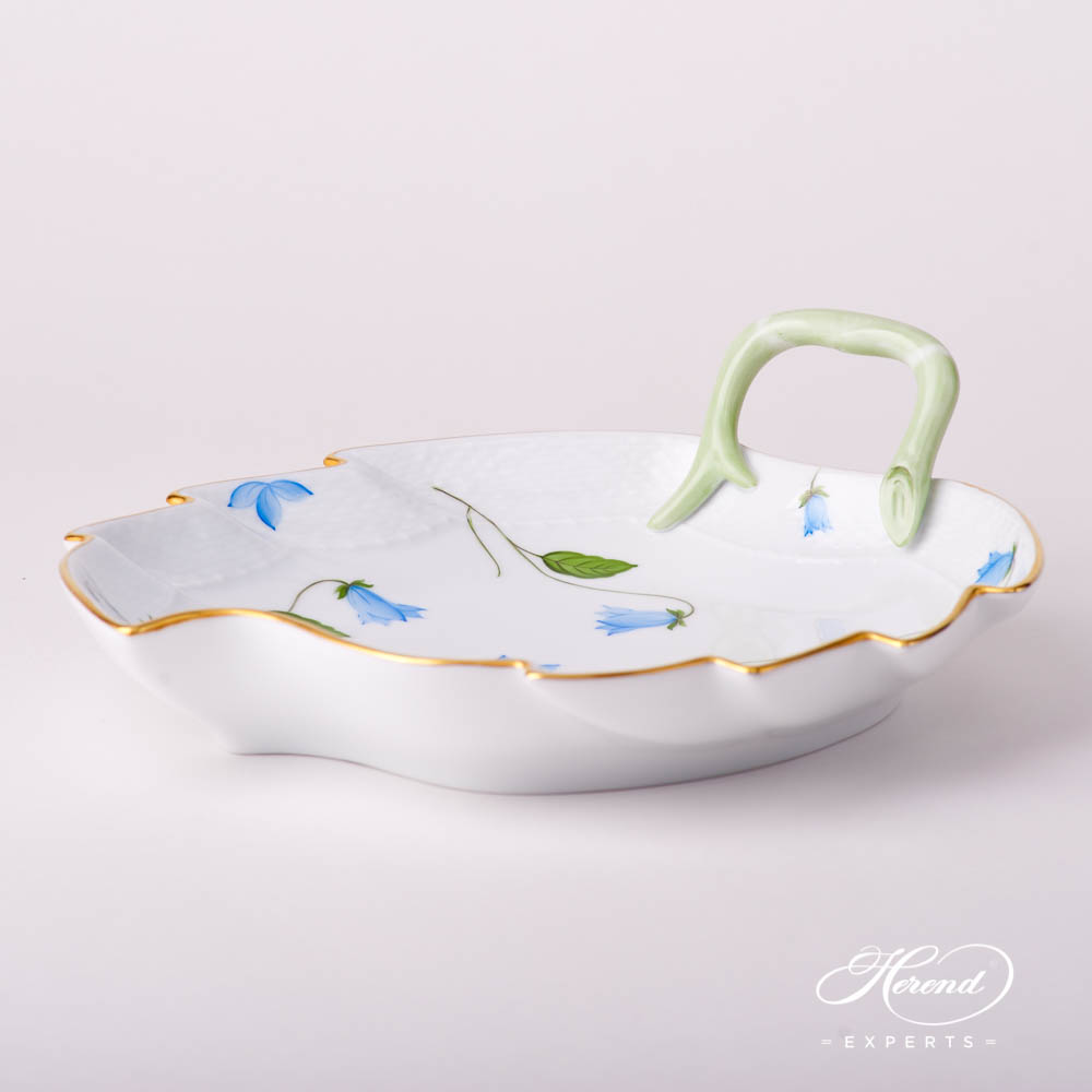Leaf Dish 200-0-00 CMU Bluebell / Campanula Blue pattern. Herend fine china hand painted. Modern style tableware