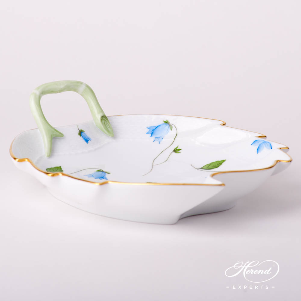 Leaf Dish200-0-00 CMU Bluebell / Campanula Blue pattern. Herend fine china hand painted. Modern style tableware