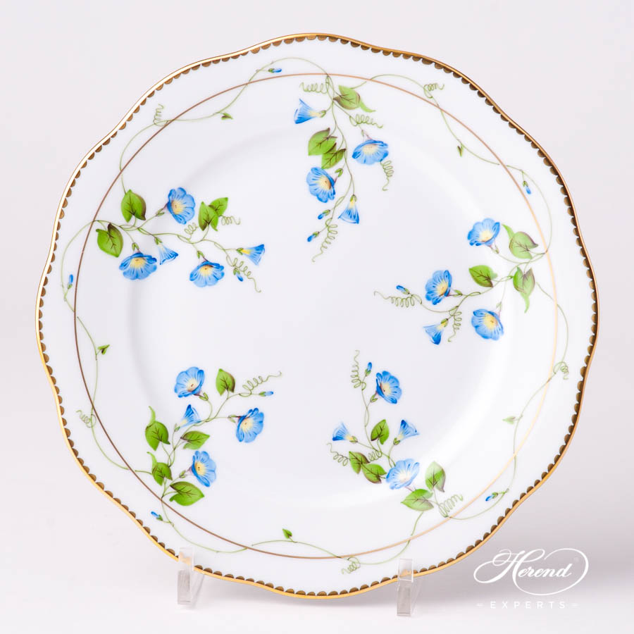 Dessert Plate 20517-0-00 NY Nyon / Morning Glory Flower pattern. Herend fine china tableware. Hand painted
