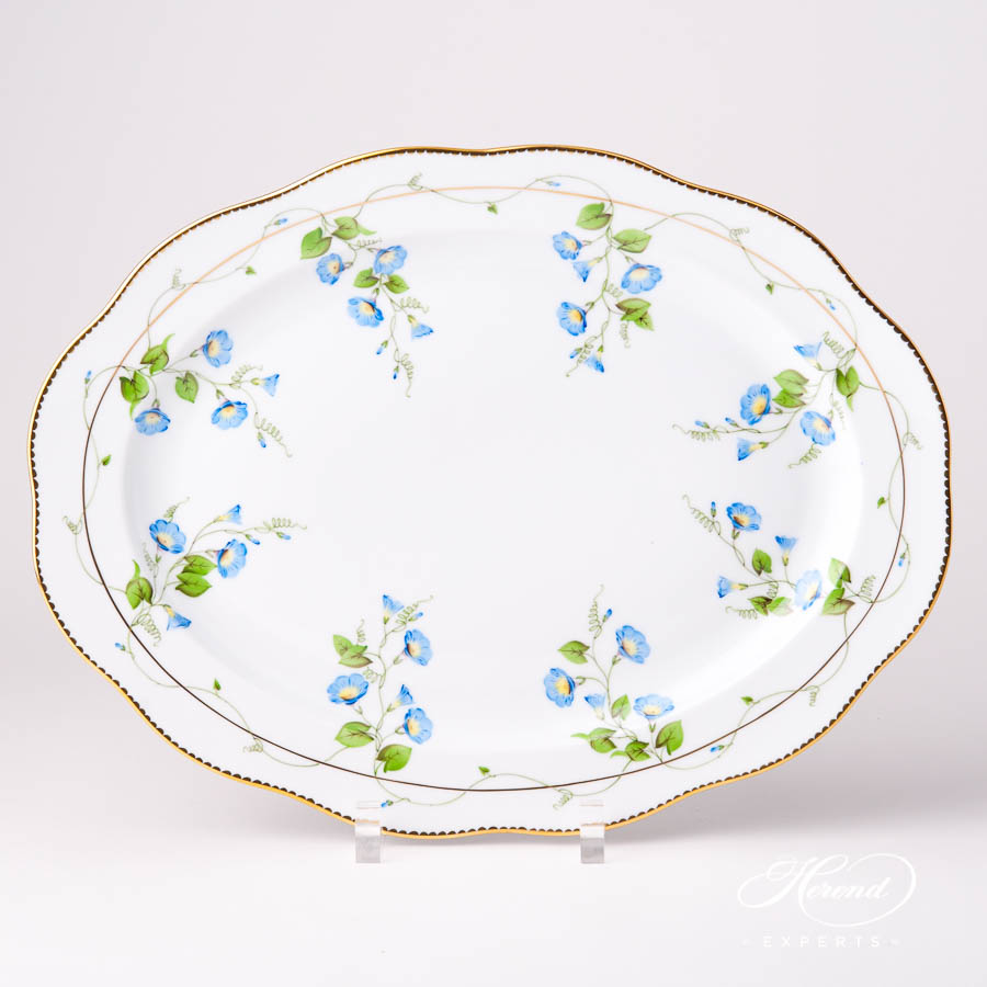 Oval Dish20102-0-00 NY Nyon / Morning Glory Flower pattern. Herend fine china tableware. Hand painted