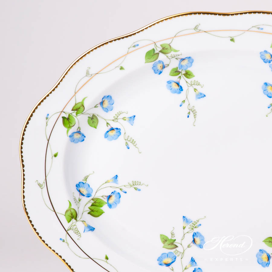 Oval Dish 20102-0-00 NY Nyon / Morning Glory Flower pattern. Herend fine china tableware. Hand painted