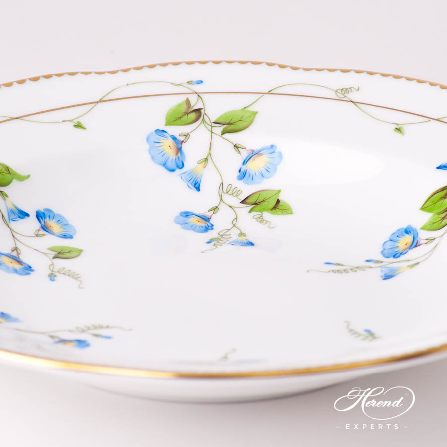 Soup Plate 20504-0-00 NY Nyon / Morning Glory Flower pattern. Herend fine china tableware. Hand painted