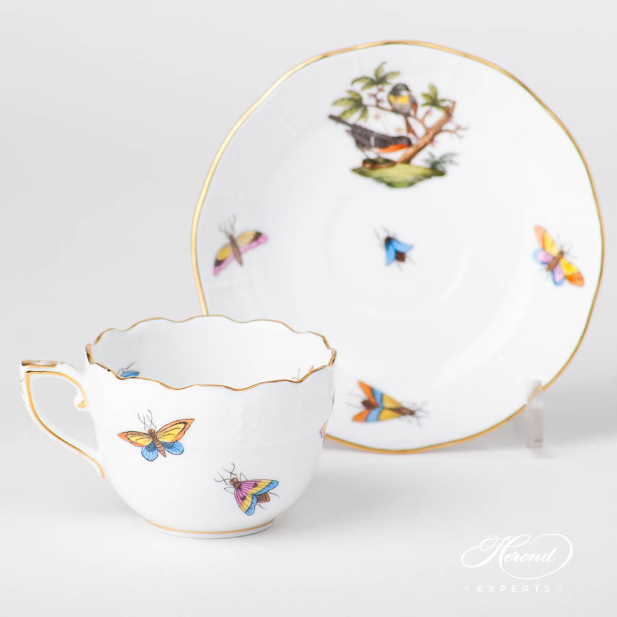 Coffee / Espresso Cup w. Saucer 711-0-00 RO Rothschild Bird design. Herend fine china tableware. Hand painted