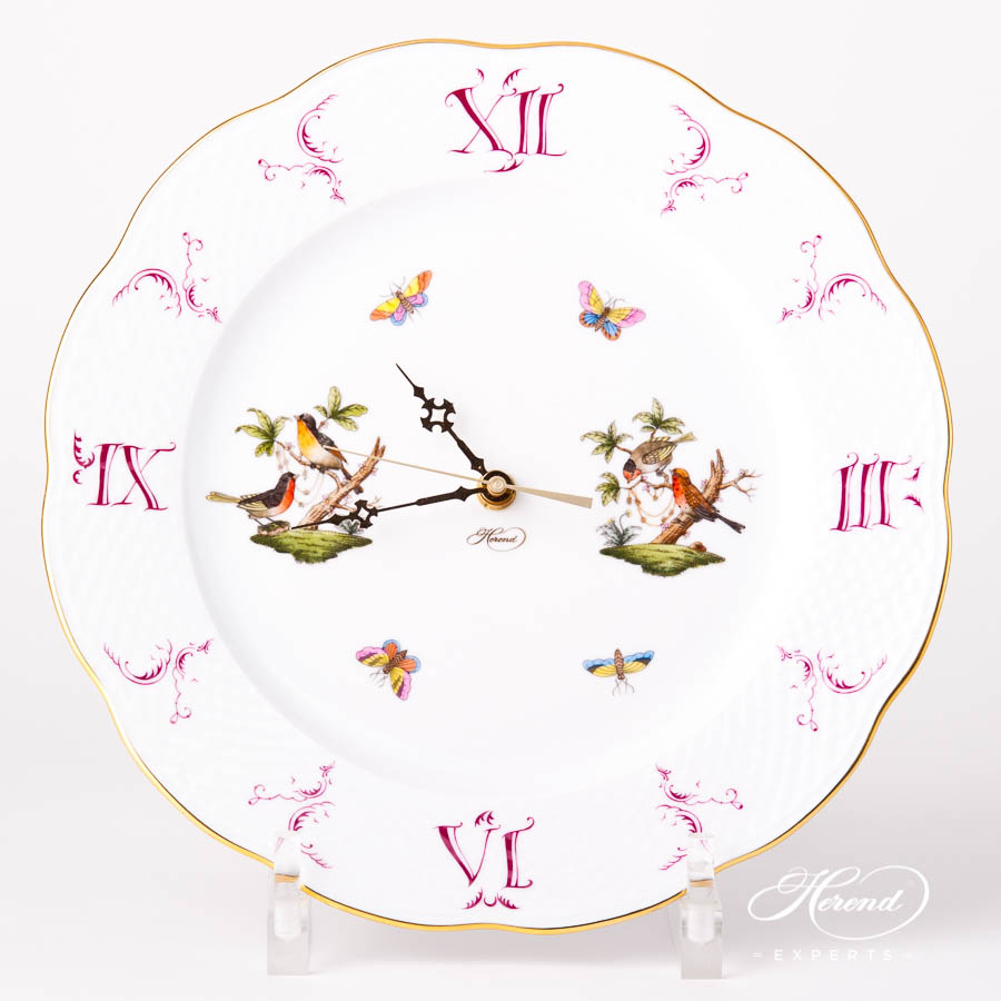 Wall Clock 527-0-47 RO Rothschild Bird pattern. Herend Fine china hand painted. Ornaments. Battery powered