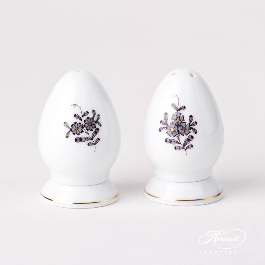 Salt and Pepper Shaker 249-0-00 ANG and 250-0-00 ANG Chinese Bouquet / Apponyi Black design. Herend fine china