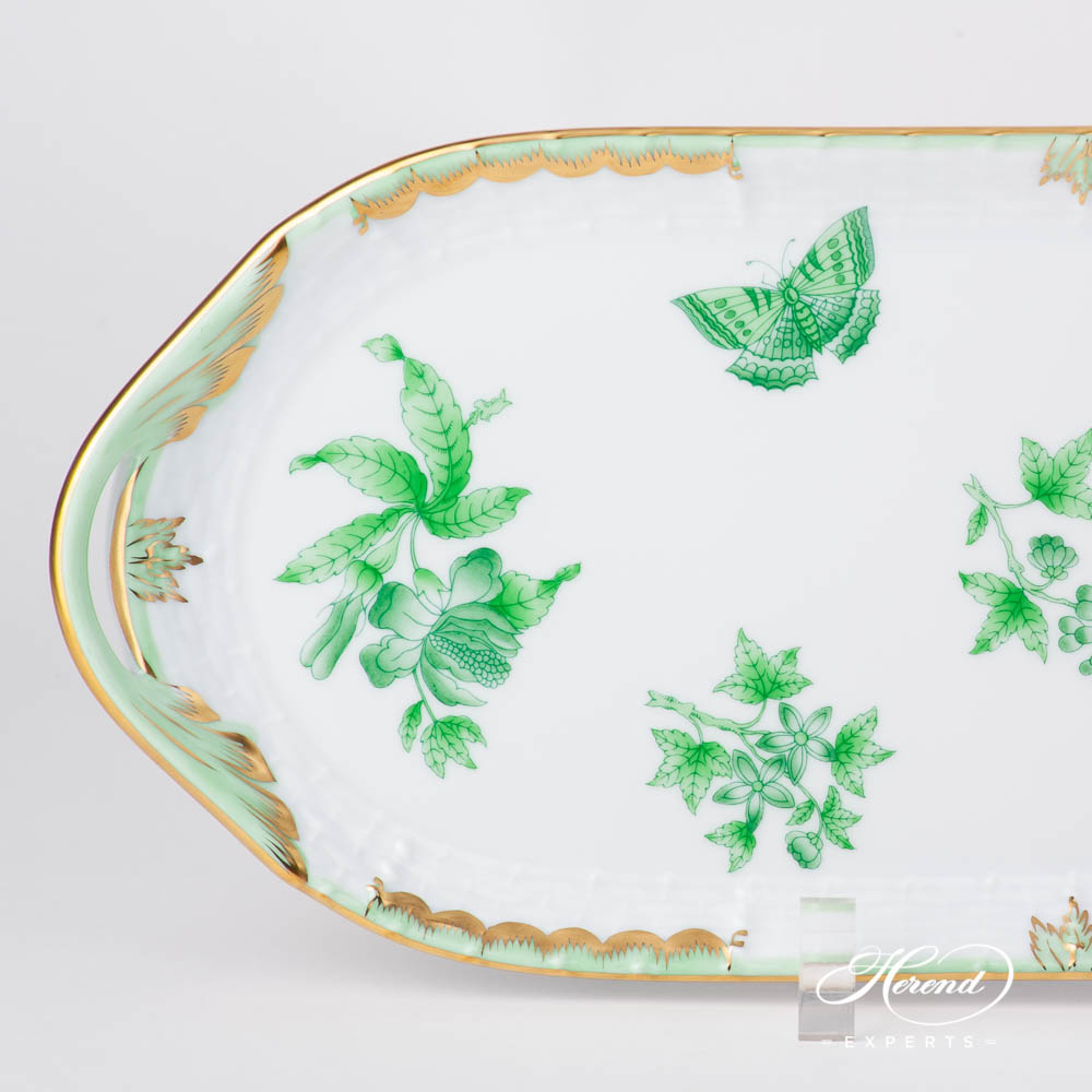 Sandwich Dish 436-0-00 VBOV Queen Victoria Green pattern. Herend fine china hand painted. Classic Herend design