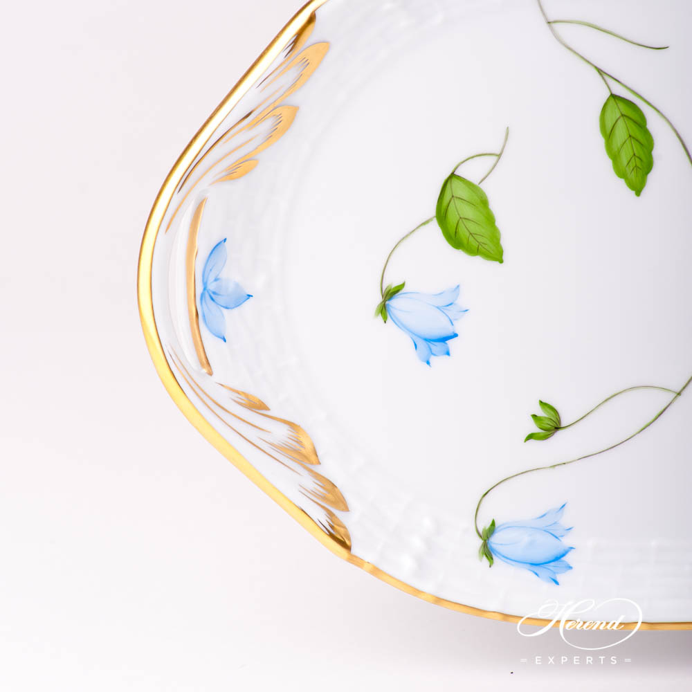 Sandwich Dish 436-0-00 CMU Bluebell / Campanula Blue pattern. Herend fine china hand painted. Modern style tableware