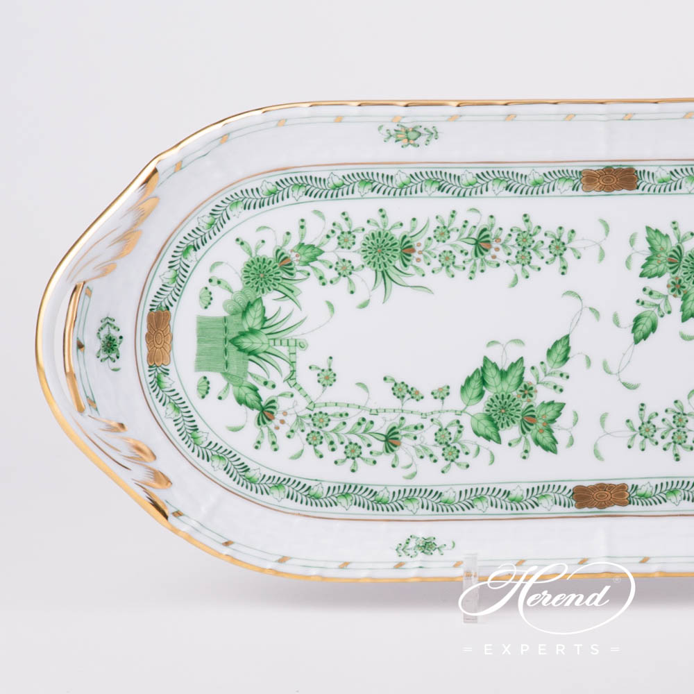 Sandwich Dish 436-0-00 FV Indian Basket Green pattern. Herend fine china hand painted. Classic Herend pattern