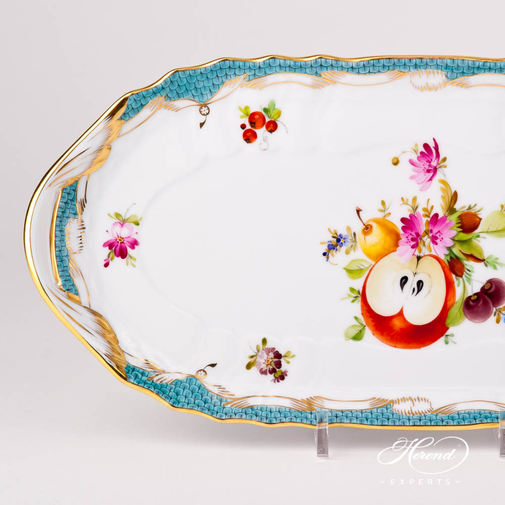 Sandwich Dish 1436-0-00 CFR-ET Fruits w. Turquoise Fish Scale design. Herend fine china