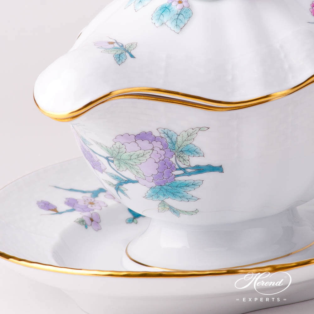 Sauce Boat / Gravy Boat w. Lid 232-7-02 EVICTF2 Royal Garden Turquoise Flower pattern. Herend fine china hand painted
