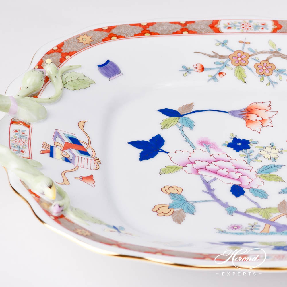 Cake Plate w. Branch Handles 20430-0-00 SH Shanghai design. Herend fine china tableware. Hand painted. Oriental style