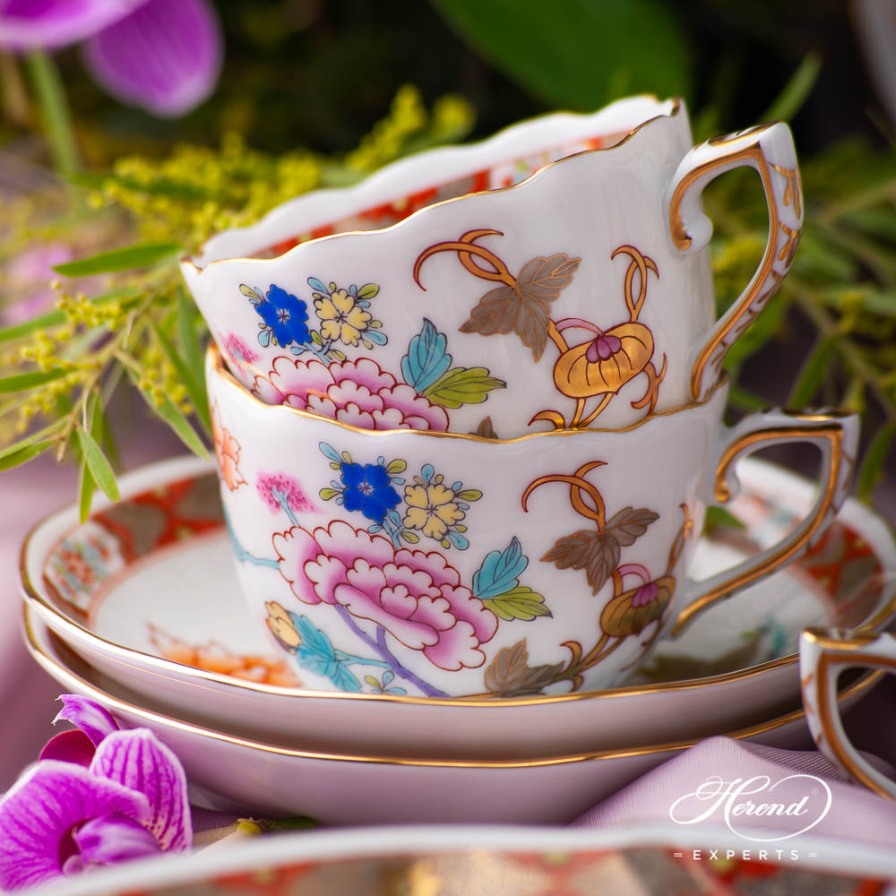 Coffee / Espresso Cup and Saucer 20711-0-00 SH Shanghai design. Herend fine china tableware. Hand painted. Oriental style