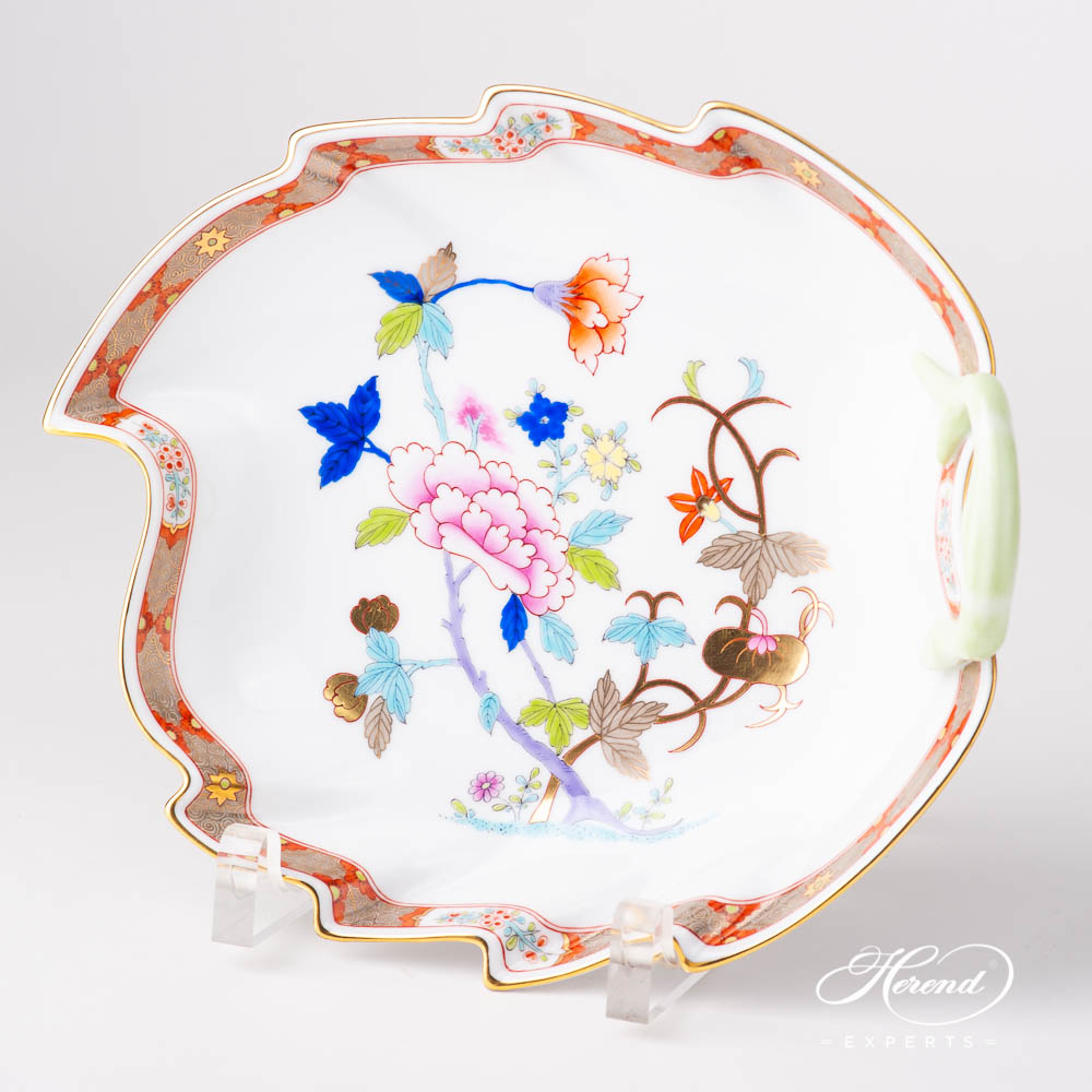 Leaf Dish w. Branch Handle 2200-0-00 SH Shanghai design. Herend fine china tableware. Hand painted. Oriental style