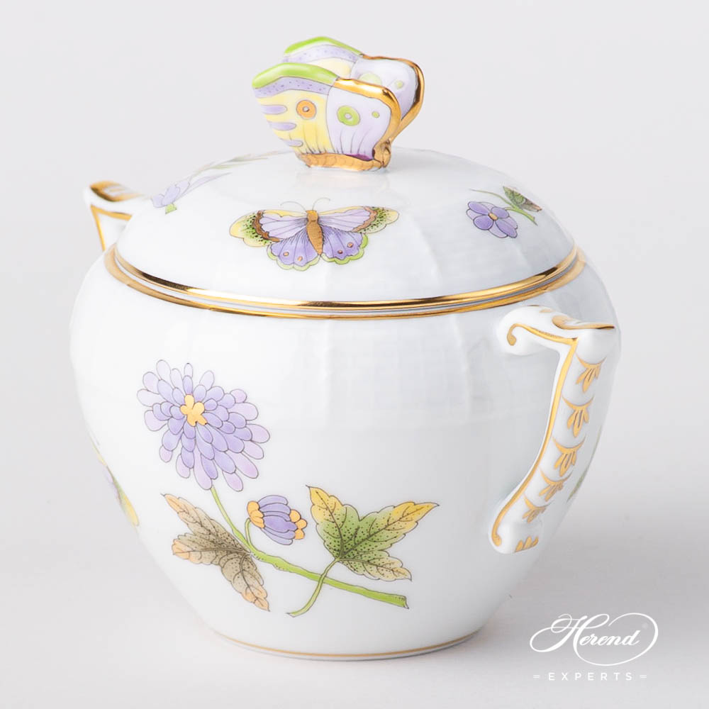 Sugar Basinw. Butterfly Knob 471-0-17 EVICT1 Royal Garden Green Butterfly w. Flowerdesign. Herend fine china hand painted. Modern style