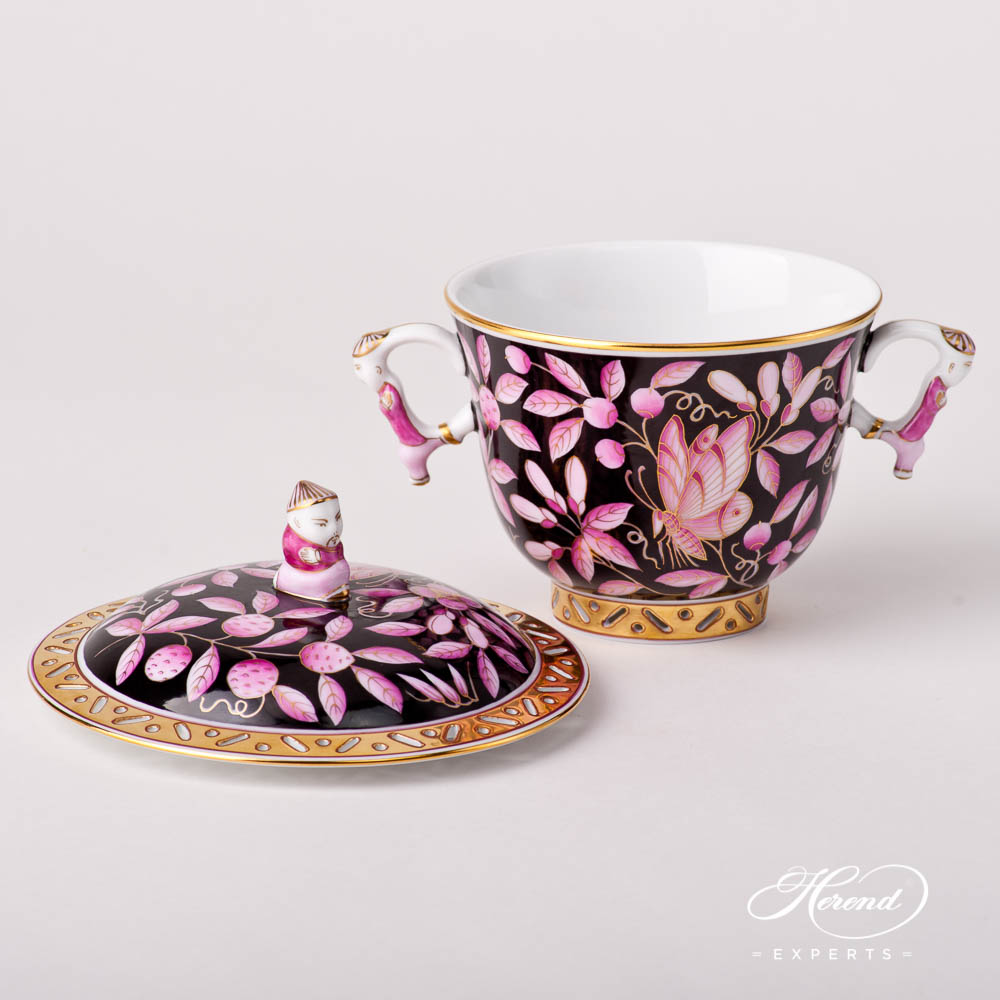 Tea / Coffee Cup w. Lid 3352-0-21 ZOPA-FN - Purple ZOO on Black Background design. Herend Fine china hand painted. Oriental pattern