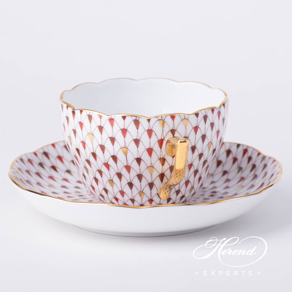 Tea Cup / Coffee Cup 20730-0-00 VHSP18 Special Fish Scale with Gold design. Herend fine china hand painted. Burgundy, Brown and Gold Fish Scale