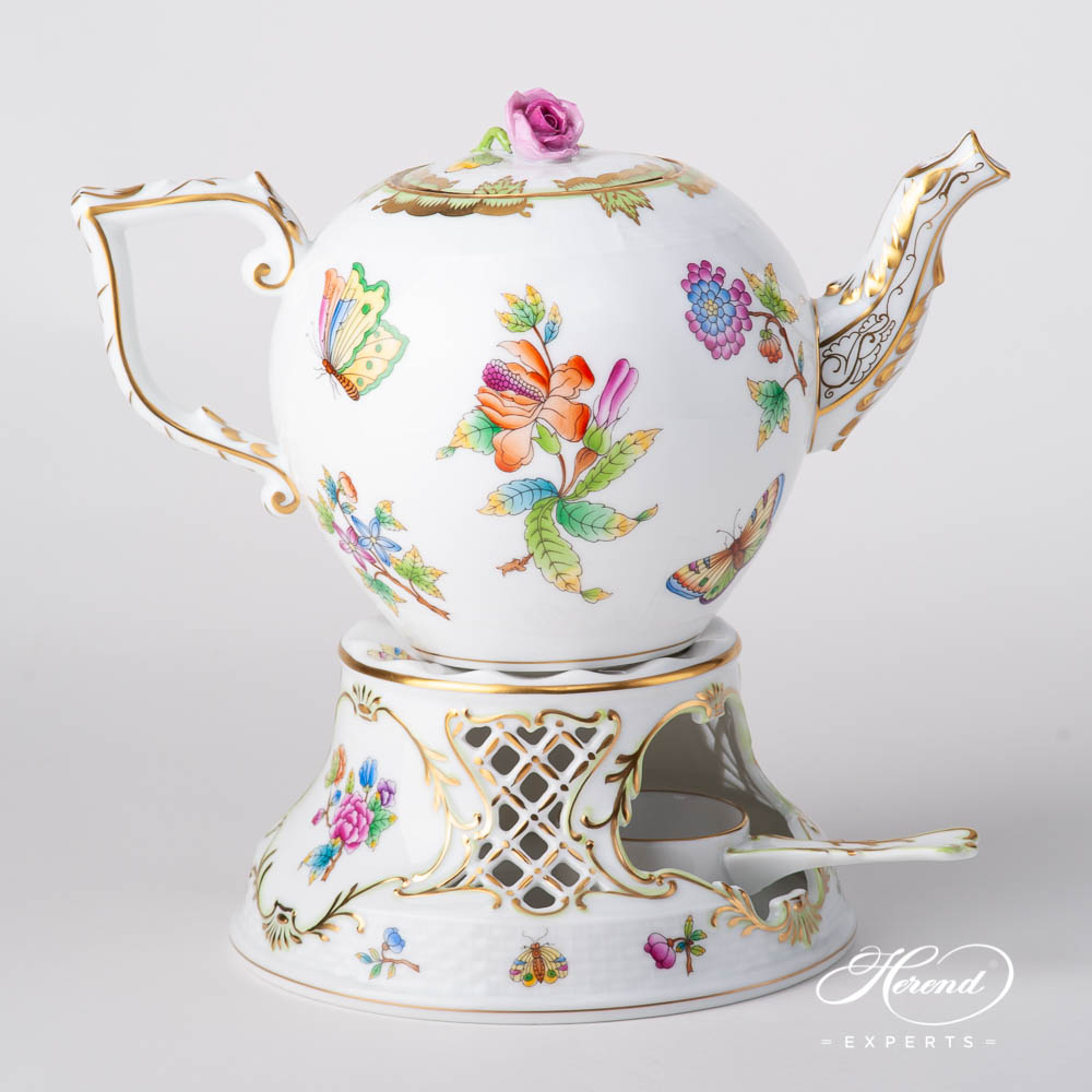 Tea Stove w. Inlay 455-0-00 VBO Queen Victoria pattern. Herend fine china hand painted. Classic Herend pattern