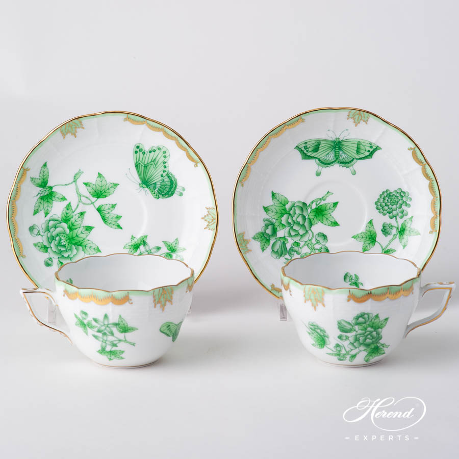 Tea Cup / Coffee Cup 730-0-00 VBOV Queen Victoria Green design. Herend fine china hand painted. Universal Cup