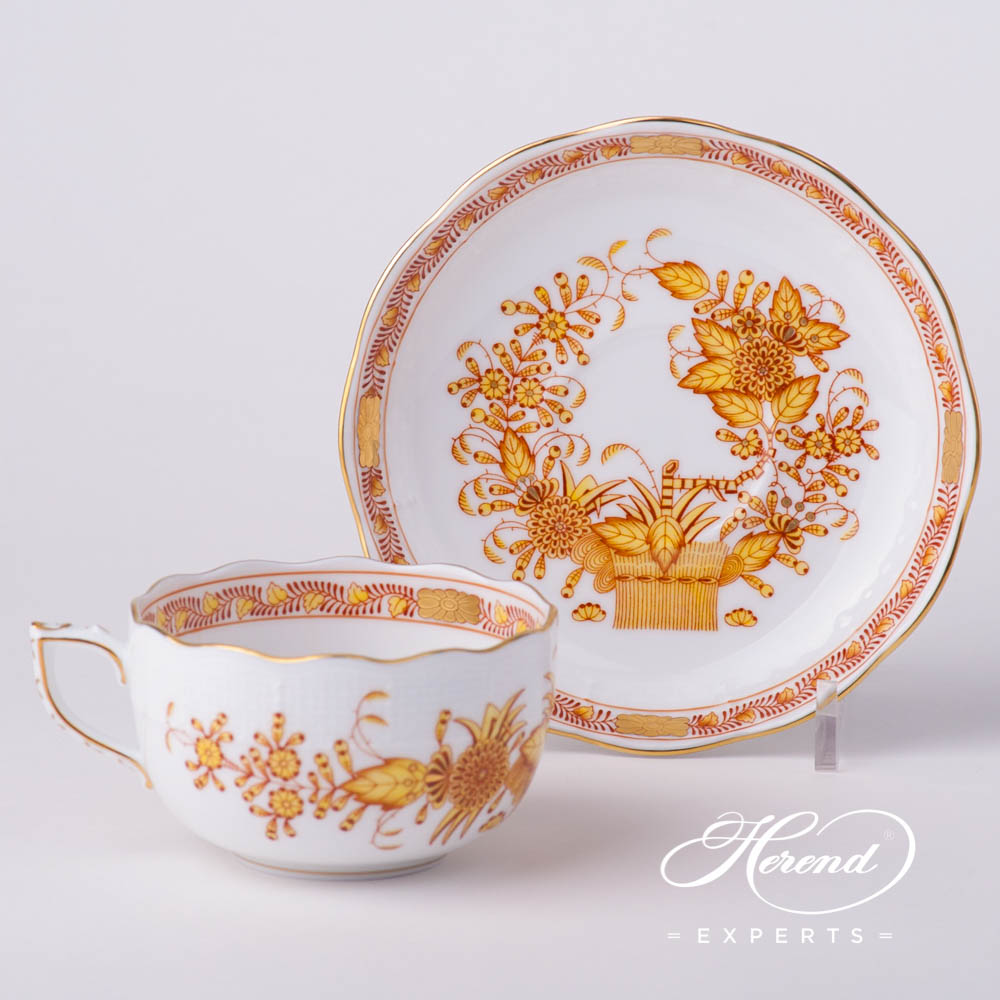 Tea Cup w.Saucer724-0-00 FJ Indian Basket Yellow pattern. Herend fine china hand painted. Classical style tableware