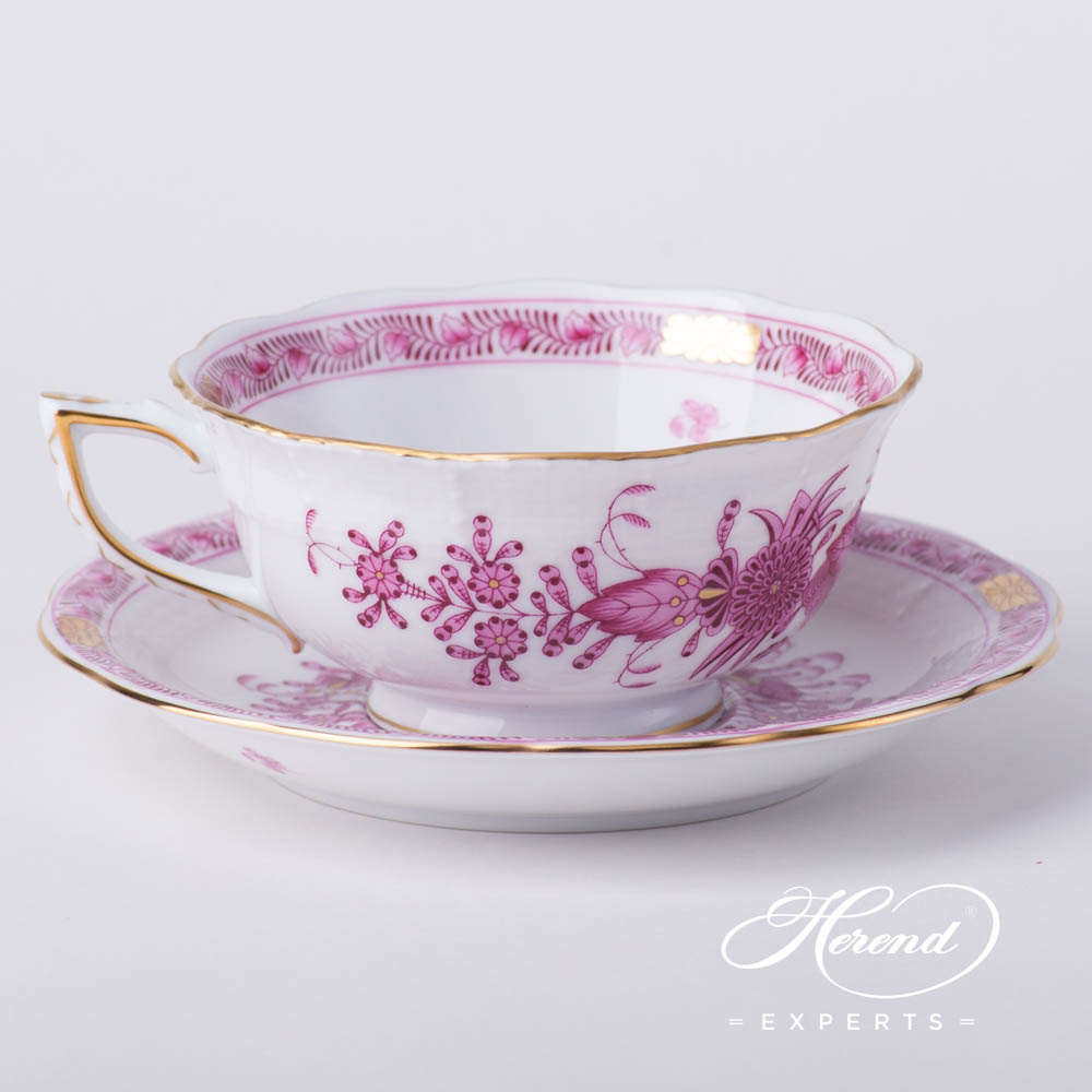 Tea Cup w. Saucer 734-0-00 FP Indian Basket Purple pattern. Herend fine china hand painted. Classical style tableware