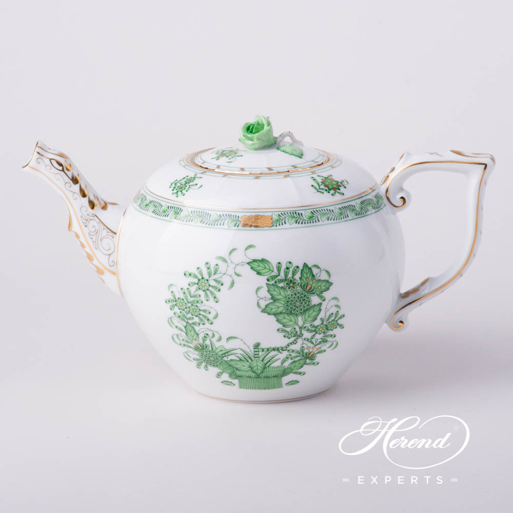 Tea Pot w. Rose Knob 604-0-09 FV Indian Basket Green pattern. Herend fine china hand painted. Classic Herend pattern