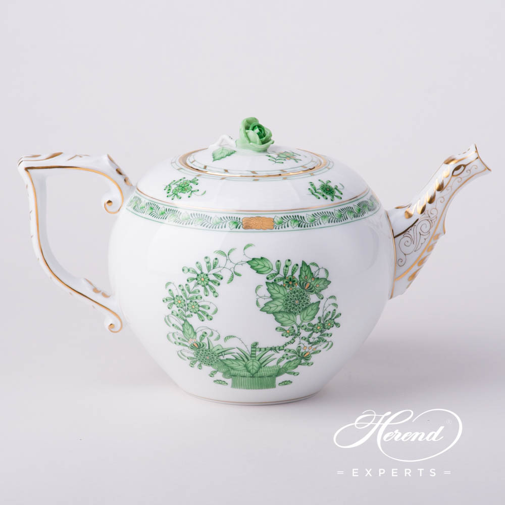 Tea Pot w.Rose Knob604-0-09 FV Indian Basket Green pattern. Herend fine china hand painted. Classic Herend pattern