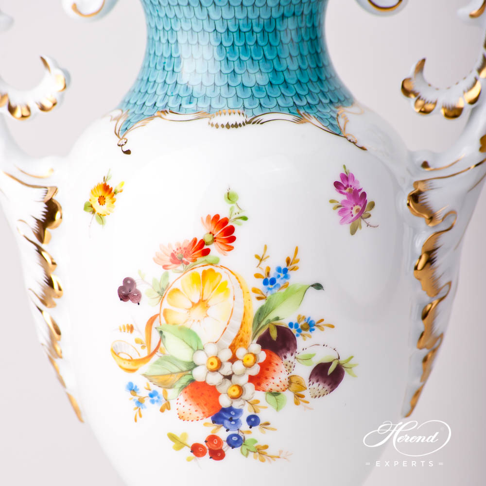 Fancy Vase w. Lid 6492-0-23 CFR-ET Fruits w. Turquoise Fish Scale design. Herend fine china hand painted. Classical fruit design